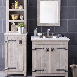 """Americana Vanity, Cabinet, and Hutch by Native Trails - Handcrafted by American artisans from reclaimed wood, the Americana Collection by Native Trails has a character as rich as its history. Its beautifully textured wood, rescued from structures of the past, has stood the test of time. These strong heirloom pieces lend soulful presence and are complemented with hand forged iron hardware. The 30"""" Americana Vanity in Driftwood features a Native Trails copper sink in brushed nickel."""