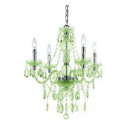 AF Lighting - Plastic Mini Chandelier in Lime Green - Plastic 4 Light Mini Chandelier in lime green cut plastic| Hand Polished | 4-60 Watt candle base bulb | Swag Kit included | Simple Assembly Required | Due to hand crafting no 2 plastic chandeliers are alike | UL Listed.