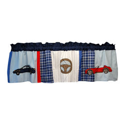 "Pem America - Cars Window Valance 18"" x 70"" x 3"" - Do you have the next car enthusiast?  Our Cars quilt combines cars with classic patchwork construction.  The drop of the quilt features hand pieced, classic plaid patterns with a dominant blue tone.  The deck of the quilt user red, white, and blue colors to make a statements and the large scale car icons are appliqued to the face of the quilts and shams. Valance measures 18 inches high by 70 inches wide with 3 inch rod pocket. 100% cotton face material. Machine wash cold/gentle, do not bleach, tumble dry low."