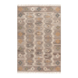 Jewel Tone II JTII2047 Rug - 2'x3' - This hard twisted flat weave collection features a series of Southwestern patterns which are a great addition to any decor. The fact that these are reversible makes this collection an invaluable addition to the decor. Hand woven in India, this collection is made by great artisans from 100% wool.