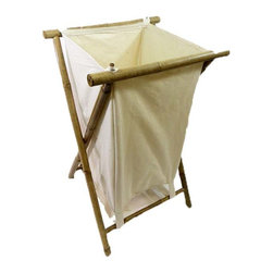 "Master Garden Products - Folding Bamboo Laundry Hamper,  14.5""W x 20""D x 60""H - Handcrafted with heavy duty iron bamboo, this sustainable and renewable bamboo hamper is designed with a modern and casual look to coordinate with any décor. The bamboo hamper has a heavy canvas bag that can hold two loads of laundry. The bag is removable and machine washable. Hamper quickly folds for space saving storage when not in use. The bag is off white in color."