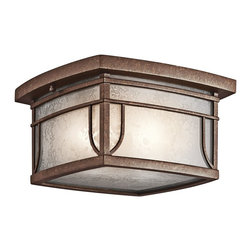 KICHLER - KICHLER 49153AGZ Riverbank Arts and Crafts/Mission Outdoor Flush Mount Ceiling L - The updated transitional feel of the Riverbank collection fits perfectly with the different exteriors of many home styles. A square frame finished in Aged Bronze is wrapped in White linen mist glass. The rounded trim gives the illusion of a gentle bow. U.L listed for Damp Locations and 90° C Wire Rated.