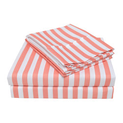 Heritage 3000 Series Cabana Stripe Sheet Set, Coral - The new Heritage Cabana Series features updated highest quality 100% microfiber sheets. The microfibers are 100 times thinner than a strand of hair making the weave impenetrable to allergens and dust mites. These sheets are built to last and provide the utmost comfort for the most affordable price.
