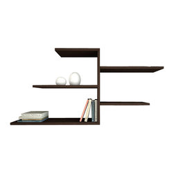 Matte / Decortie - FABA WALL SHELF, Wenge - Simple and stylish, the Matte Faba Wall Shelf, is a contemporary and angular design that is perfect for displaying your favourite books and objects. Featuring five shelves, it is sure to add character to you home.
