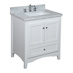 Kitchen Bath Collection - Abbey 30-in Bath Vanity (Carrara/White) - This bathroom vanity set by Kitchen Bath Collection includes a white Shaker-style cabinet with soft close drawers and self-closing door hinges, double-thick Italian Carrara marble countertop (an incredible 1.5 inches at the edge!), single undermount ceramic sink, pop-up drain, and P-trap. Order now and we will include the pictured three-hole faucet and a matching backsplash as a free gift! All vanities come fully assembled by the manufacturer, with countertop & sink pre-installed.
