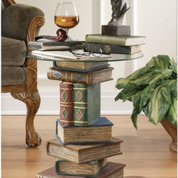 Design Toscano - Stacked Volumes Sculptural End Table - Be ''book smart'' with this artistically sculpted table that speaks volumes! With a penchant for the literary, this quality designer resin, 360-degree sculptural work of decorative art is hand-painted with faux leather covers, then topped with a 0.375''-thick, pencil-edged glass top to be admired from all angles. Features: -0.375'' Thick pencil-edged glass table top.-Faux leather cover.-Sculpted 360 degrees to be admired from all angles.-Design Toscano exclusive.-Quality designer resin construction.-Hand finished.-Distressed: No.Dimensions: -Overall Product Weight: 28 lbs.