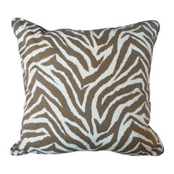 """Zebra Print Pillow 16"""" x 16"""" - We love the mix of zebra print in slightly more muted tones. This fabric works both indoors or outdoors, meaning this could sit just as easily on your sofa or patio. A plump polyfill insert fills this 16"""" square pillow. Made in USA."""