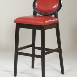 "Armen Living - Martini Stationary Barstool in Red - Jazz up any room or ambience and let the celebration begin with these lovely oval-backed barstools that epitomize posh after-hours relaxation. Features: -Ebony wood frame finish. -100% vibrant red leather. -Black legs. -Contemporary barstool. -Overall Dimensions: 40"" H x 17"" W x 15"" D. -Seat height: 30"". How Can I Care for my leather upholstery? We recommend cleaning it using a neutral soap diluted with water. Use a dry, soft and white cloth. We do not recommend any type of conditioner, or chemical to be placed on the sofa. Simply dusting the sofa, and cleaning up spots when they occur should help keep your sofa looking good for its expected life. Remember that leather is a natural material that can change its appearance as it ages."