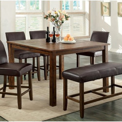 Furniture of America - Furniture of America Tacinth Counter Height Dining Table - Dark Oak - IDF-3688PT - Shop for Bar and Pub Tables from Hayneedle.com! Upgrade your traditional dining room set with the Furniture of America Tacinth Counter Height Dining Table Dark Oak . Casual rustic and perfect for a conversation area this table features a plank style top and dark oak finish. Seats six guests at counter height.About Furniture of AmericaFurniture of America has over 20 years experience in the furniture industry. They have facilities in California Georgia and New Jersey. Furniture of American strives to provide a comprehensive selection of home furniture at competitive prices. They feature a wide variety of bedroom collections youth furniture dining room sets upholstery living room furniture accents upholstery and more. Furniture of America offers more value for less always!
