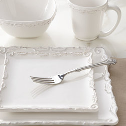 16-Piece Bianca Wave Square Dinnerware Service - Redefine dining with this unique square dinnerware embellished with scroll and swag borders. A square meal never looked so elegant.