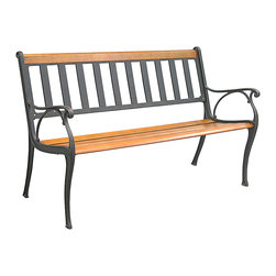 Innova Hearth & Home - Mission Park Bench - Liven up your yard with this handsome bench that offers a cast iron construction, sturdy hardwood slats and a breathable slatted design for a classically casual addition to your outdoor oasis.   Weight capacity: 400 lbs. 49.5'' W x 30.75'' H x 23.25'' D Seat: 15.5'' H Iron / hardwood / steel Assembly required Imported