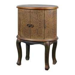 Old World Storage Case Accent Table - *Enclosed storage case features textured cloth stretched over embossed wood with copper metallic highlights and a rust brown wash accented by Jacobean stained, distressed hardwood legs.