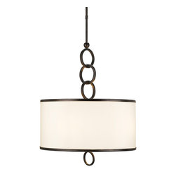"Currey & Company - Currey & Company Large Brownlow Pendant - The Large Brownlow Pendant hangs from a handsome chain of wrought iron rings, finished in Bronze Gold. The beige shantung shade, which is the body of the pendant, is detailed with brass trim on both top and bottom of the shade. The simplicity of the shade is accented perfectly with these touches of elegance. This pendant provides a lovely light source without overpowering other elements in a room. It measures 24"" in diameter X 72""H and takes four 60 watt max bulbs (BULBS ARE NOT INCLUDED)."