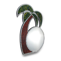 Zeckos - Tropical Mosaic Glass Palm Tree Wall Mirror - Add a colorful accent to any room with this lovely Palm Tree mirror. Made of wood, it measures 22 inches tall, 14 inches wide, and 1/2 inch thick. It is carefully hand-accented, mosaic style, with hundreds of pieces of colored and mirrored glass It easily mounts to the wall with a single nail or screw. The mirror portion measures 10 1/2 inches in diameter . This piece makes a wonderful gift for friends with tropical themed decor, and looks great at tiki bars.