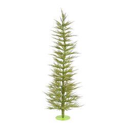 "Vickerman - Lt. Green Laser Tree 100Cl (5' x 24"") - 5' Lt. Green Laser Tree 100 Clear Mini Lights 889 PVC tips, with metal base."