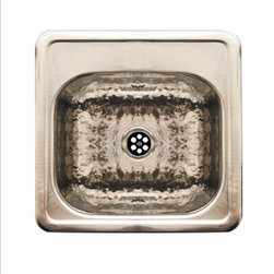 Whitehaus - Whitehaus Wh692Bbb Square Drop-In Sink - Square drop-in entertainment/prep sink with a hammered texture bowl and a mirrored finish ledge