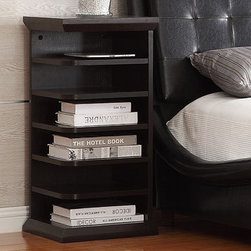 Coaster - Bookshelf Side Table, Cappuccino - This side table is perfect for small corners. Features six storage slots for keeping any room organized.