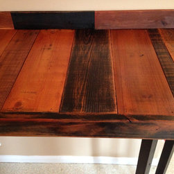 "Reclaimed Wood Breakfast Bar - This custom reclaimed wood breakfast was was designed and built by Ron Brown, ""The Finisher"" for a Westside craftsman home in downtown Bend, Oregon. 