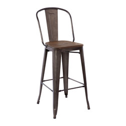 "Design Lab MN - Tolix Style Rustic Matte + Elm Wood Seat Steel Bar Chair 30"" (Set of 4) - As seen in many bistros across France, the tolix style barstool is a classic piece used for generations."