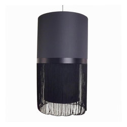 The Strand Suspension Lamp in Black - The Strand Suspension Lamp in BlackInspired by Moooi Fringe Model 4 Suspension Lamp, The Strand suspension is an exquisite reproduction and true to the original design.  This stunning lamp consists of a textile lampshade over a minimalist base. All with a slightly vintage feel yet is still uber contemporary in effect.
