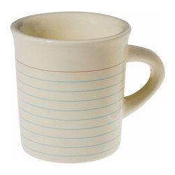 College Ruled Mug - For a noteworthy morning routine, mix things up with this collegiate-cool ceramic mug. Quirky and dependable, it's got a great look for teachers, students, and anyone who's scholastically inclined.