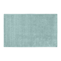 None - Xavier Stripe Sea Foam 30x50 Bath Rug - Enjoy the plush feel of the Xavier Stripe bath and spa collection while adding a classic note of design and color. The aqua blue rug is created from durable, machine-washable nylon with non-skid latex backing for safety.