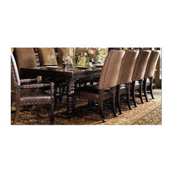 Tommy Bahama Home - Pembroke Rectangular Dining Table - True Bottom of apron to floor 25.5 in.. Two 24 in. leaves. Extends to 120 in.. Made from mahogany solids, American maple and mahogany veneers. Tamarind - black, highly distressed finish. Minimal assembly required. 72 in. L x 44 in. W x 30.25 in. H (220 lbs.). Assembly Instructions. Special Care Instructions from Lexington FurnitureKingstown is a relaxed traditional collection inspired by British Colonial style, with a hint of Campaign and a touch of safari. The Tamarind finish is a rich aged black with rub-through to crimson and gold undertones beneath. The evocative designs provide a sense of a well-traveled life.of items hand selected during journeys around the globe. Each piece is crafted as a one-of-a-kind find yet the eclectic collection coordinates beautifully. Travel the world without ever leaving home.