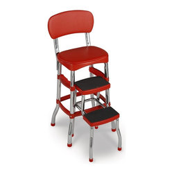 Cosco - Cosco Red Retro Counter Chair Step Stool - 11120RED1E - Shop for Stepstool from Hayneedle.com! About Cosco Home and OfficeCosco was founded in 1935 as the Columbus specialty company with the invention of a tin matchbox that dispensed new matches while providing a place for used ones. Over 70 years later its experience has increased its ability to produce and market new and innovative products while maintaining a strong classic line. Never satisfied Cosco continues to produce new and stylish designs while bringing them to market faster and more efficiently. As it focuses on the future Cosco Home and Office products will continue to lead the industry by listening to its valued customers while incorporating innovative concepts into quality-driven value-added products.