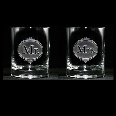 Mr. and Mrs. Engraved Whiskey, Scotch, Bourbon Glass - Personalized custom whiskey, scotch and bourbon glasses are the perfect gift for bridal shower, engagement, wedding, birthday and for the man or woman who has everything. Real estate agents and interior designers often give our personalized barware to special clients as housewarming or thank you gifts. Not engraved, but deeply sand carved, each of our glasses is hand crafted. The background is carved away, leaving the monogram and design raised from the glass in a 3D manner. Simply exquisite. Crystal Imagery
