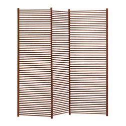 Greenington - Lilac Standing Screen - This warm wooden screen has classic style to spare. Strong, but decidedly understated, it's a room divider that separates without ever feeling heavy.