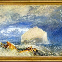 """Joseph William Turner-16""""x24"""" Framed Canvas - 16"""" x 24"""" Joseph William Turner The Bass Rock (for """"The Provincial Antiquities of Scotland"""") framed premium canvas print reproduced to meet museum quality standards. Our museum quality canvas prints are produced using high-precision print technology for a more accurate reproduction printed on high quality canvas with fade-resistant, archival inks. Our progressive business model allows us to offer works of art to you at the best wholesale pricing, significantly less than art gallery prices, affordable to all. This artwork is hand stretched onto wooden stretcher bars, then mounted into our 3"""" wide gold finish frame with black panel by one of our expert framers. Our framed canvas print comes with hardware, ready to hang on your wall.  We present a comprehensive collection of exceptional canvas art reproductions by Joseph William Turner."""