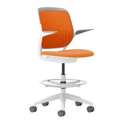 Steelcase - Steelcase Cobi Stool, White Frame w/Arms & Soft Casters, Tangerine - If you want to be productive, get comfortable. This chair is so well-designed — with automatic, intuitive adjustments and multiple posture support — it's as beneficial to your brain as your body. You'll buckle down as soon as you sit and will be so busy, time will fly. The fact that it comes in so many cool colors? Consider it a perk!