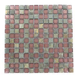 "GlassTileStore - Geological Squares Multicolor Slate & Rust Glass Tiles - Geological Squares Multicolor Slate + Rust Glass Tiles 3/4 x 3/4          This striking square design has a combination of multicolor slate and metallic rust glass. These mesh mounted and will bring a sleek and contemporary clean design to any room.         Chip Size: 3/4 x 3/4   Color: Multicolor and Metallic Rust   Material: Slate and Glass   Finish: Polished and Frosted   Sold by the Sheet - each sheet measures 12""x12x (1 sq. ft.)   Thickness: 8mm            - Glass Tile -"