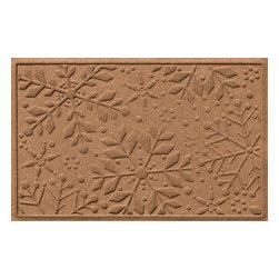 Bungalow Flooring - Aqua Shield 2'x3' Holiday Snowflake Doormat, Medium Brown - Premium 24-oz. anti-static polypropylene mat traps dirt, water and mud.