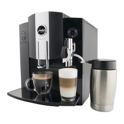 Frontgate - Jura Impressa C9 One Touch Coffee Center - Stainless steel Thermoblock heating system. 64 oz. water capacity. Commercial-grade burr grinder. Water filtration system purifies water. One-touch latte and cappuccino buttons so you never have to move the cup. This compact Jura Impressa C9 One Touch Coffee Center is the most space-saving one-touch coffee maker today. Even with it's trim size, this coffee maker has all the advanced functions of its larger counterparts. If you like cappuccino, cafe mocha, latte, crema coffee, or espresso, this versatile automatic coffee maker will make your favorite coffee beverage with the touch of a button. . . . . . 14-oz. insulated milk container keeps milk cold for up to 8 hours for frothing and steaming. Individually programmable cup size, strength, and temperature. Made in Switzerland. Read more features and benefits of the Impressa C9. Please note this item is ineligible for discounts.