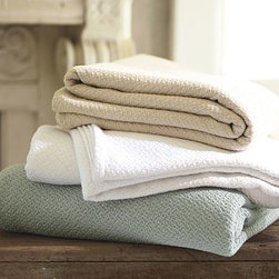 Organic Cotton Essential Blanket, King/Cal. King, Powder Blue - Premium organic cotton fibers are combed for softness, then yarn dyed and Jacquard woven to create our cozy, lightweight Organic Essential Blanket. 100% organic cotton. Fabric is yarn dyed to ensure lasting color. Finished with a self-bound hem. Monogramming is available at an additional charge. Monogram will be centered along the top border. Machine wash. Catalog / Internet Only. Imported.