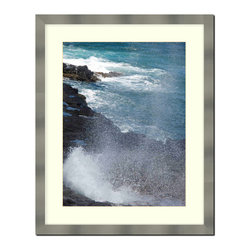 """Frames By Mail - Stainless Steel finish Wall Picture Frame with a white acid-free matte, 11x14 - Designed to match stainless steel appliances this 1.25"""" wide picture frame has a stainless steel finish over mdf.  The white matte, for an 8X10 picture, can be removed to accommodate a larger picture.  The frame includes regular plexi-glass (.098 thickness) foam core backing and can hang either horizontal or vertical."""