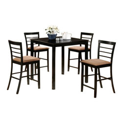 "Casa Blanca - 5-Piece Brea Collection Black Finish Wood Counter Height Table Set - 5-Piece Brea collection black finish wood counter height table set with slat back chairs and fabric seats. This set includes the table with legs and 4 side chairs upholstered with fabric seats and slat backs. Table measures 36"" x 36"" X 36"" H. Chairs measure 42"" H to the back. Some assembly required."