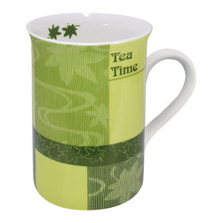 """Konitz - Set of 2 Mugs First Flush Tea Time - The First Flush Tea Mugs feature tea leaves against a background of varying green hues. Includes a ridged raised relief design and the words """"Tea Time""""."""