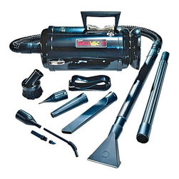 "Metropolitan Vacuum - Metro DataVac 2 Vacuum - The DataVac/2TA METRO DATAVAC/2TA Includes: Deluxe Power Unit (1.17PHP Motor) Assembled with toner filter disposable bag, permanent cloth bag, cord storage halo, 6' flexible hose, 2-20"" extension wands, 'pik-all' nozzle, 'powerizer', air maximizer, crevice tool w/brush insert, dusting brush, air 'pin pointer', shoulder strap, 2 extra toner filter disposable bags, 1 extra micro filter, plus 4 pc. Micro cleaning tool kit & 'snorkel' probe. 4 color display carton. High powered and specially designed to clean computers, printers, and all sensitive-to-dust electronic equipment used in the modern office."