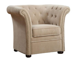 Coaster - Coaster Tufted Club Chair in Beige - Coaster - Club Chairs - 902034 - Designed with an elegant high back, this unique accent chair will be the focal point of any room in your home. Upholstered with a plush fabric complete with button-tufted detail on its back and arms, this chair is gentle to the eye and to the touch, offering a look and feel that you will be just dying to sink into. Gracefully curved and charmingly detailed, this chair features gently rolled track arms and contrasting nailhead trim, for a delicate yet prestigious style that has both traditional and contemporary influence.