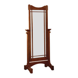 Powell - Powell Mission Oak Cheval Mirror - The mission oak cheval is perfect for the bedroom or bath. Solid oak and oak veneer frame and solid oak mission styling. Large mirror adjusts to the ideal dressing angle for any individual. Some assembly required.