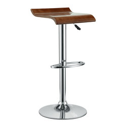 Modway - Modway EEI-578 Bentwood Bar Stool in Oak - The Bentwood Bar Stool is constructed of a chromed steel frame and base. It has a bent plywood seat with natural wood finishes. This stool operates on an adjustable hydraulic piston. This item is made similar in style to the award winning LEM Piston Stool. Perfect for entertaining guests at your own bar at home, or for stylish seating around the counter.