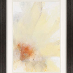 Paragon Decor - Micro I Artwork - A soft flower blossom is fine-spun in shades of yellow.  Framed in wood finish molding.