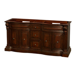 "Wyndham Collection - Roxbury 72"" Cherry DBL Vanity, No Top, No Sinks, No Mrrs - The Roxbury vanities are hallmarks of elegant detailing and hand-crafted workmanship that evoke images of the grandeur and style of classic America. No detail has been spared, from the anchoring strength of the base to the subtlety of the raised paneling, this is truly luxury at an affordable price, and the perfect statement of taste and tranquility for your new bathroom."