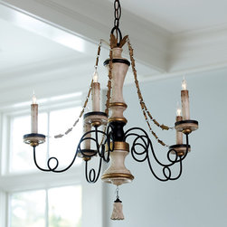 Ballard Designs - Avignon 5-Light Chandelier - Complete with wood-grained, bell-shaped finial. Bronze finished metal arms and hanging chain. Brass accents. Cream drip candle sleeves. Everything about our Avignon 5-Light Chandelier recalls the style and romance of the French countryside. Exquisitely detailed wood-grained column and candle cups are offset by ultra-feminine scrolled arms that lend an airy look. Brass leaf chains suspend from the crowning acanthus leaf accent.Avignon 5-Light Chandelier features:. . . .