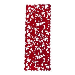 Champ Home Fabric Runner Red Felt - Add a little flare to your romantic, home cooked dinner with this red heart fabric runner. While the individual hearts are recognizable, the composition feels a little more abstract.
