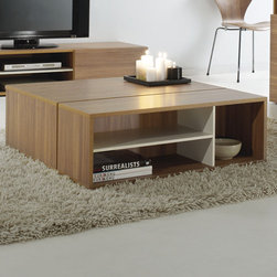 "didit Click Furniture - Coffee Table - Imagine you are able to click your furniture pieces together just like that. No screws, no tools, no frustration. Just Click, and you're done. The concept is no longer a pipe dream, as Unilin developed an extremely simple and ingenious click system enabling you to put together your favorite piece of furniture in no time at all. This unique, patented system is not only easy and quick to put together, it is also considerably sturdier than a conventional assembly system. Didit 's design is equally well-thought-out: whatever your style, you are always certain to find a piece of furniture that is perfectly suited to your taste and your home interior. What is more, without the use of screws or visible fittings, the design is shown off to much greater advantage. Click the piece of didit furniture together. You will find yourself looking at the gorgeous result in mere minutes! Features: -Clicks together without tools.-Strong and sturdy.-Collection: Didit Click Furniture.-Style: Modern.-Distressed: No.-Powder Coated Finish: No.-Gloss Finish: No.-Wrought Iron: No.-Top Material: Manufactured Wood.-Base Material: Manufactured Wood.-Base Type: Legs.-Inlay Material: Wood.-Solid Wood Construction: Yes.-Reclaimed Wood: Yes.-Hardware Material: Wood,plastic.-Non-Toxic: Yes.-UV Resistant: No.-Weather Resistant: No.-Scratch Resistant: No.-Stain Resistant: No.-Moisture Resistant: No.-Design: Table.-Drop Leaf: No.-Shape: Rectangle.-Lift Top: No.-Tray Top: No.-Storage Under Tabletop: No.-Folding: No.-Hand Painted: Not Painted.-Magazine Rack: No.-Built In Clock: No.-Nested Stools Included: No.-Legs Included: Yes -Number of Legs: 5.-Leg Type: Bun Feet..-Casters: No.-Exterior Shelves: Yes -Number of Exterior Shelves: 6.-Adjustable Exterior Shelves: No..-Cabinets Included: No.-Drawers Included: No.-Corner Block: No.-Cable Management: No.-Adjustable Height: No.-Glass Component: No.-Upholstered: No.-Outdoor Use: No.-Swatch Available: No.-Commercial Use: Yes.-Recycled Content: Yes -Total Recycled Content (Percentage): 0.5%.-Remanufactured/Refurbished : No..-Eco-Friendly: Yes.-Country of Manufacture: Belgium.Specifications: -FSC Certified: Yes.-EPP Compliant: No.-ISTA 3A Certified: No.-ISTA 1A Certified: No.-CARB Certified: No.-General Conformity Certified: No.-Green Guard Certified: No.-ISO 9000 Certified: No.-ISO 14000 Certified: No.Dimensions: -Thickness of frame panels: 0.71''.-Thickness of shelf panels: 0.5''.-Overall Height - Top to Bottom: 12.32"".-Overall Width - Side to Side: 35.43"".-Overall Depth - Front to Back: 35.43"".-Table Top Thickness: 0.71"".-Table Top Width - Side to Side: 35.43"".-Table Top Depth - Front to Back: 35.43"".-Shelving: -Shelf Height - Top to Bottom (Shelf Height - Top to Bottom: Wide Shelf) : 5"".-Shelf Height - Top to Bottom (Shelf Height - Top to Bottom: Narrow Shelf) : 10.5"".-Shelf Width - Side to Side (Shelf Width - Side to Side: Wide Shelf) : 22.7"".-Shelf Width - Side to Side (Shelf Width - Side to Side: Narrow Shelf) : 10.85"".-Shelf Depth - Front to Back (Shelf Depth - Front to Back: Wide Shelf) : 24.5"".-Shelf Depth - Front to Back (Shelf Depth - Front to Back: Narrow Shelf) : 10.5""..-Legs: -Leg Height - Top to Bottom: 0.5"".-Leg Width - Side to Side: 1.5"".-Leg Depth - Front to Back: 1.5""..-Overall Product Weight: 81 lbs.Assem"