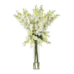 """Nearly Natural - Nearly Natural Delphinium Silk Flower Arrangement in White - Spring has definitely sprung��_ you'll be thinking that year-round when you gaze upon the whimsical beauty of this lovely Delphinium arrangement. Countless stems rise out of the beautiful vase, culminating in an explosion of floral color that looks even better in person than it does in this picture. The Perfect """"brighten me up"""" adornment for any room, this silk flower arrangement also makes a Perfect gift for that sunny person in your life."""