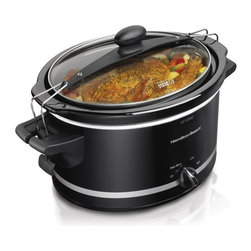 Hamilton Beach - Hamilton Beach 33245 Stay or Go 4 qt. Slow Cooker Multicolor - 33245 - Shop for Crock Pots and Slow Cookers from Hayneedle.com! Cook up 4 quarts of love with the Hamilton Beach 33245 Stay or Go 4 qt. Slow Cooker. This durable slow cooker offers variable heat settings and a clear glass lid that locks to the pot for easy transport. Perfect for cookouts parties and more it cooks evenly and heats quickly.About Hamilton BeachOne of the country's leading distributors of small kitchen appliances Hamilton Beach Brands Inc. sells over 35 million appliances every year. The company's most famous brands -- Hamilton Beach Eclectrics Proctor Silex and TrueAir -- are found in households across America Canada and Mexico. Hamilton Beach takes immense pride in their product quality wide variety of options superior customer service and brand name strength and remains committed to serving customers through Good Thinking applied to the style and function in all of their small electric appliances.